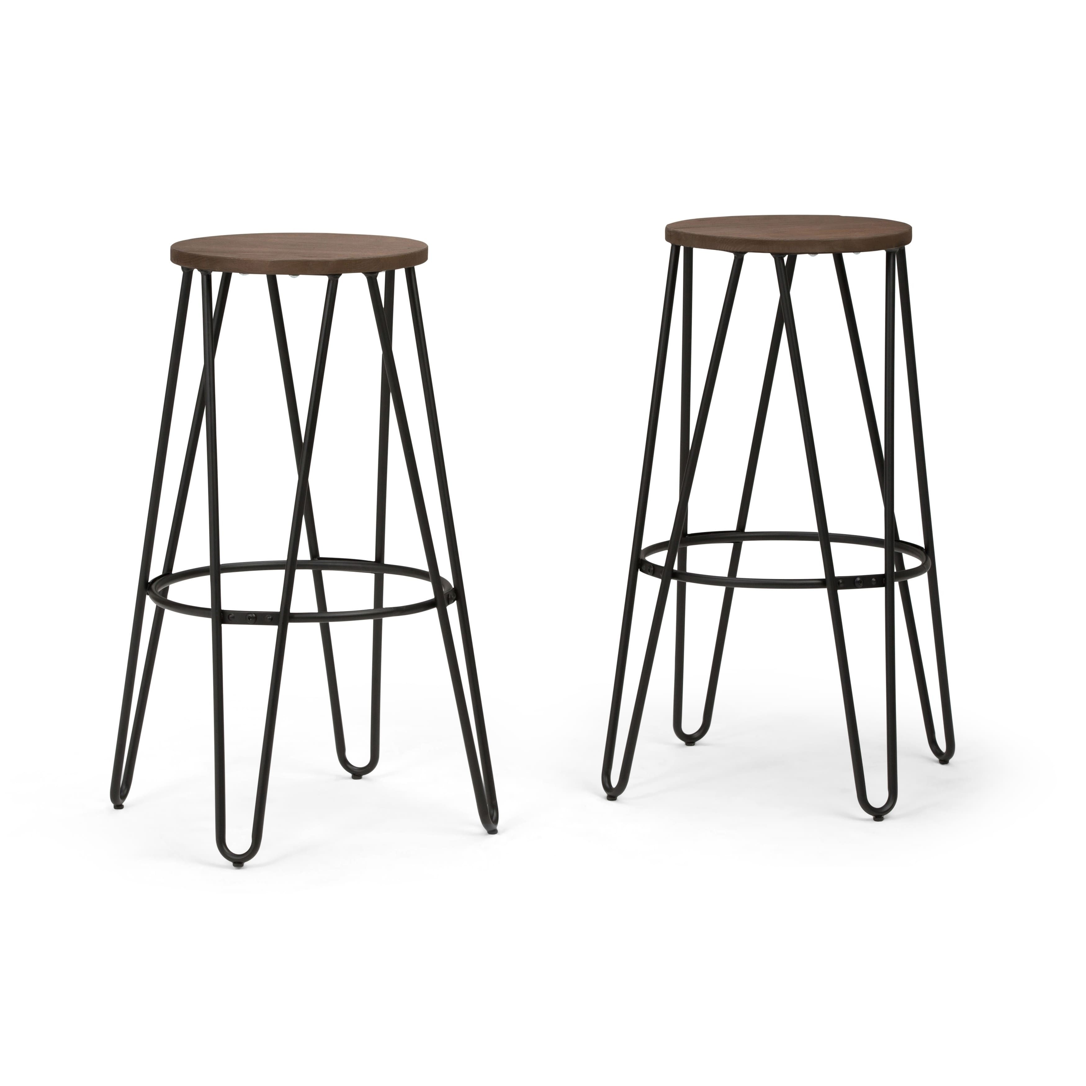 Wyndenhall Kendall Industrial Metal 30 Inch Bar Stool With Solid Wood Seat In Black Cocoa Brown 21 W X 21 D X 30 H Metal Wood Bar Stool Bar Stools Metal Bar Stools
