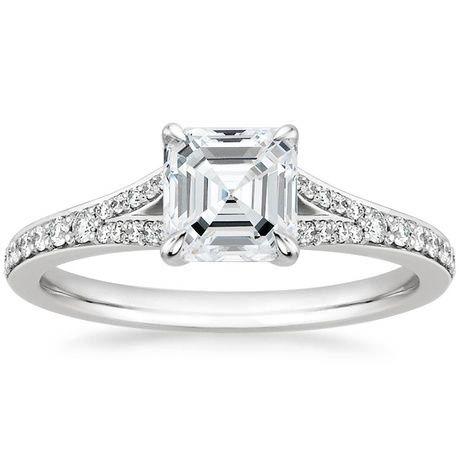 18K White Gold Duet Diamond Ring, top view