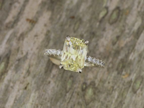 Radiant Cut Yellow Sapphire 387ct Diamond Accented Engagement Ring