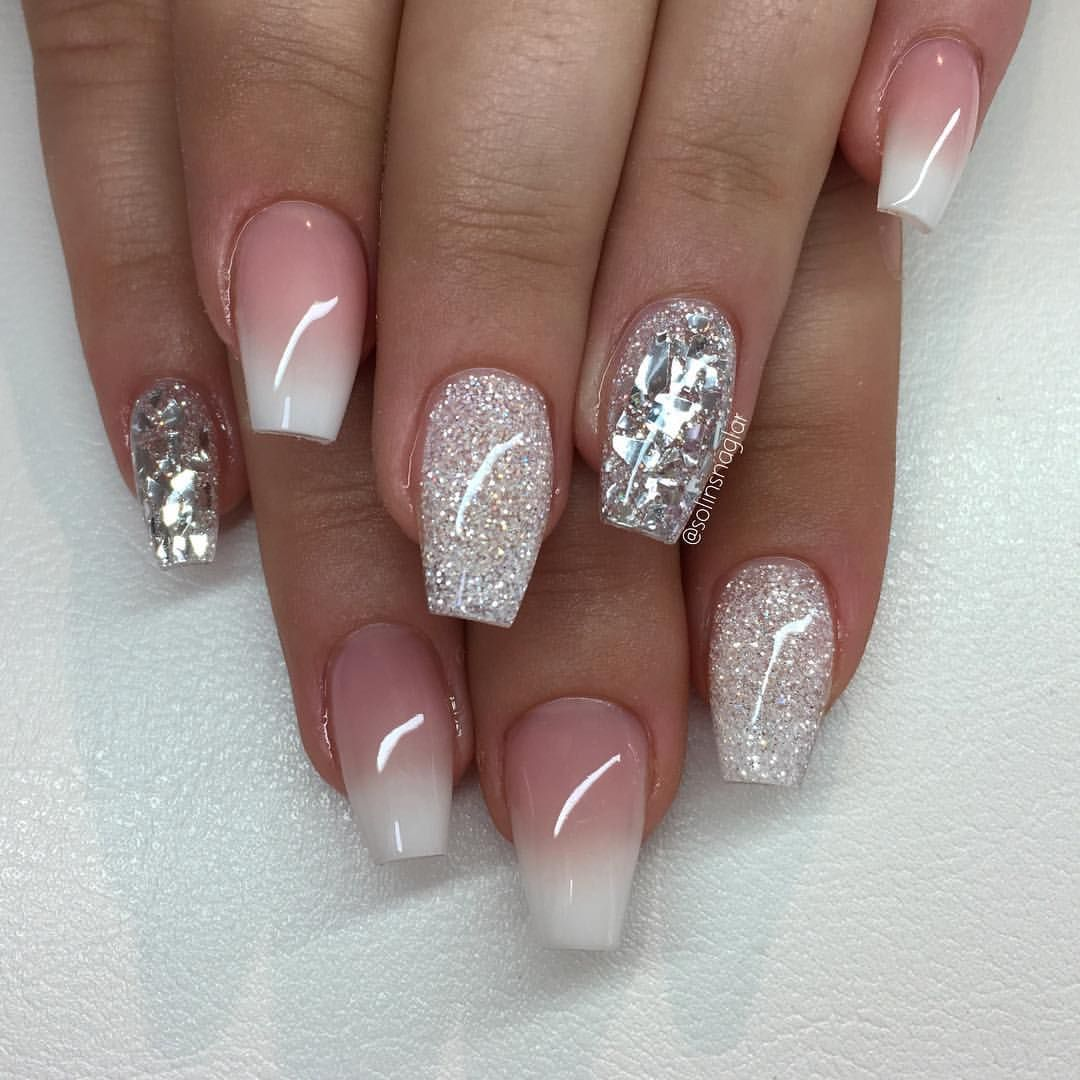 French ombre med diamond ovh silverflakes nails for Nageldesign ombre
