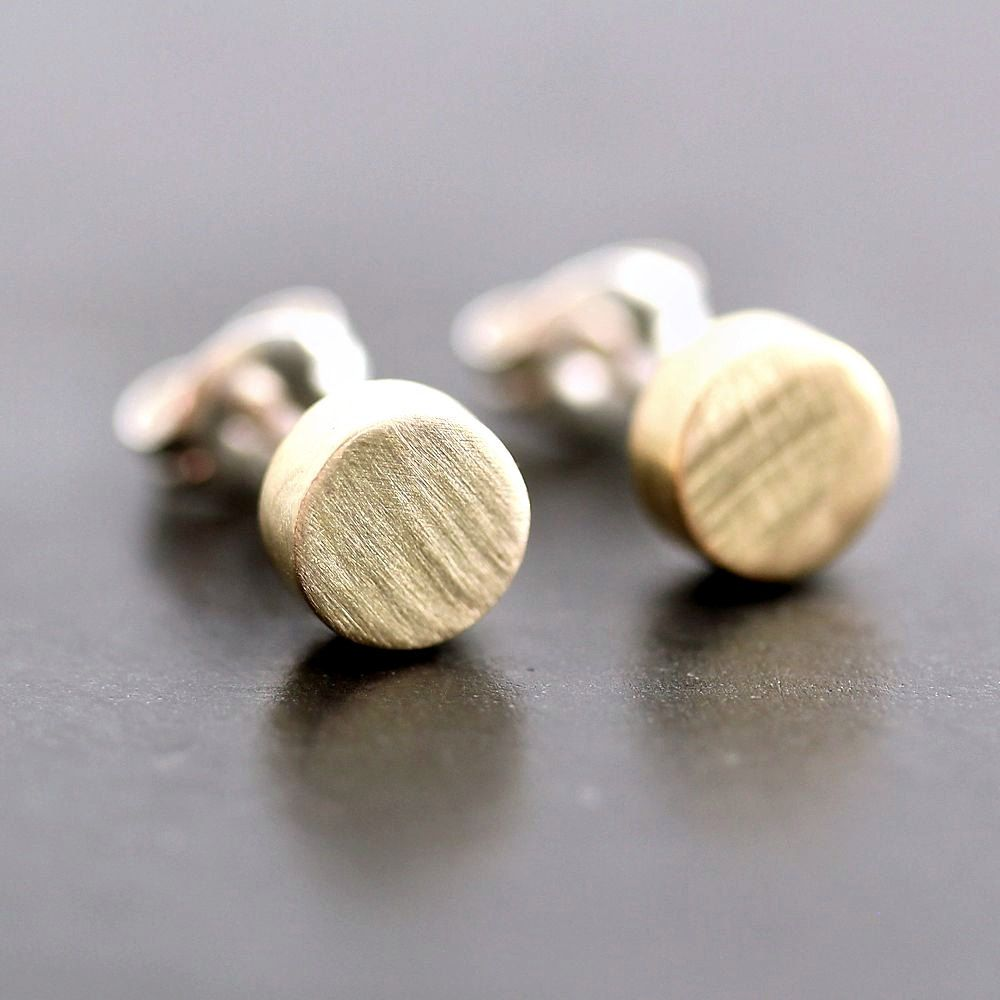 Geometric Modern Post Earrings, Brushed Golden Brass Polka Dots Sterling Silver Stud Earrings Circles - Made to Order. $24.00, via Etsy.