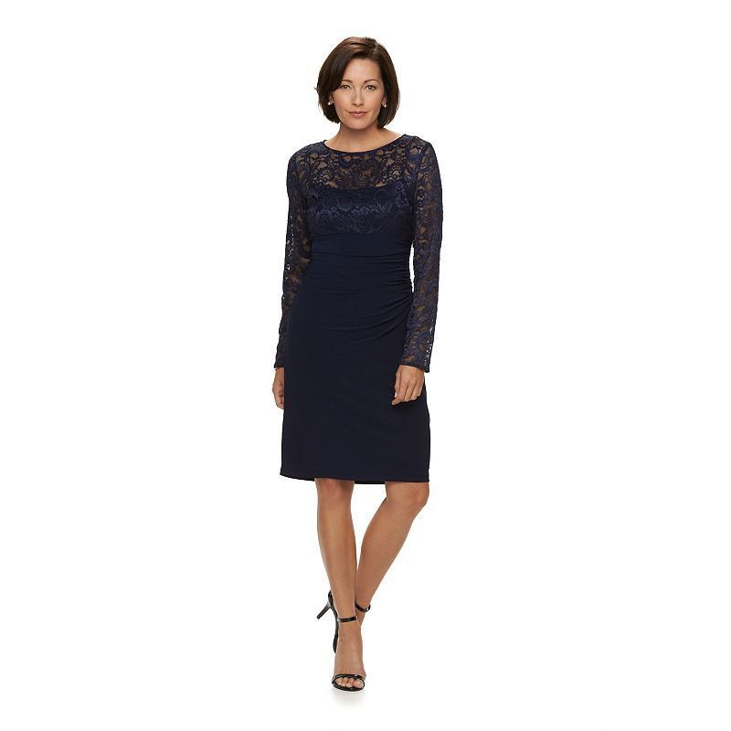 0e1cf139518 Petite Chaps Ruched Mixed-Media Dress