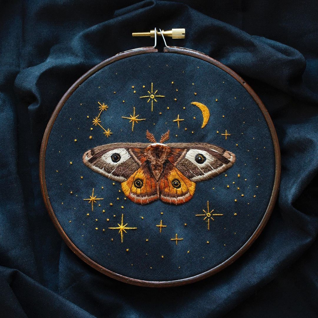 "✨ Hand Embroidery by Emillie ✨ on Instagram: ""My magical moth friend embroidery is complete"