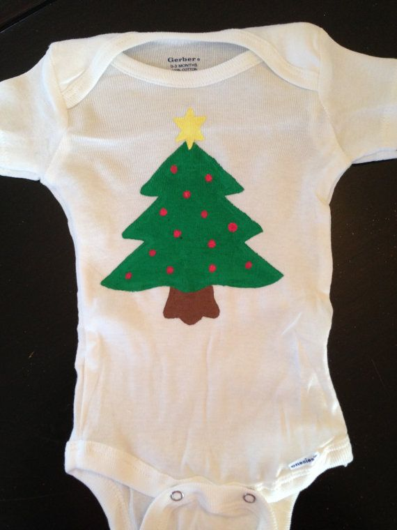 Christmas Tree Onesie.Hand Painted Christmas Tree Onesie Perfect For Baby S First