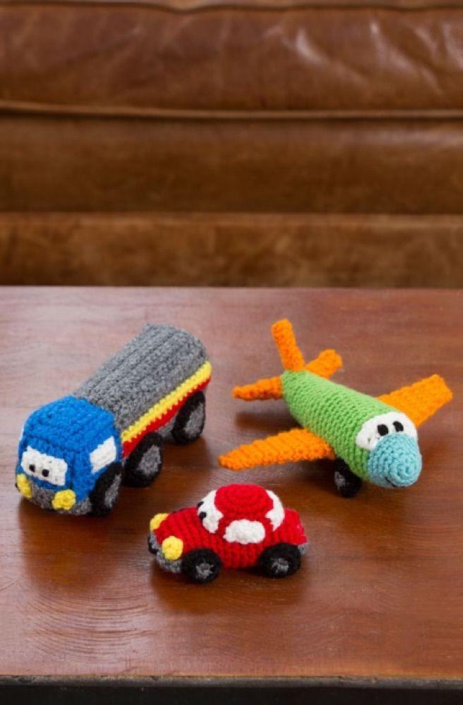 Free Pattern: Happy Little Car, Plane, & Truck in Red Heart Super ...
