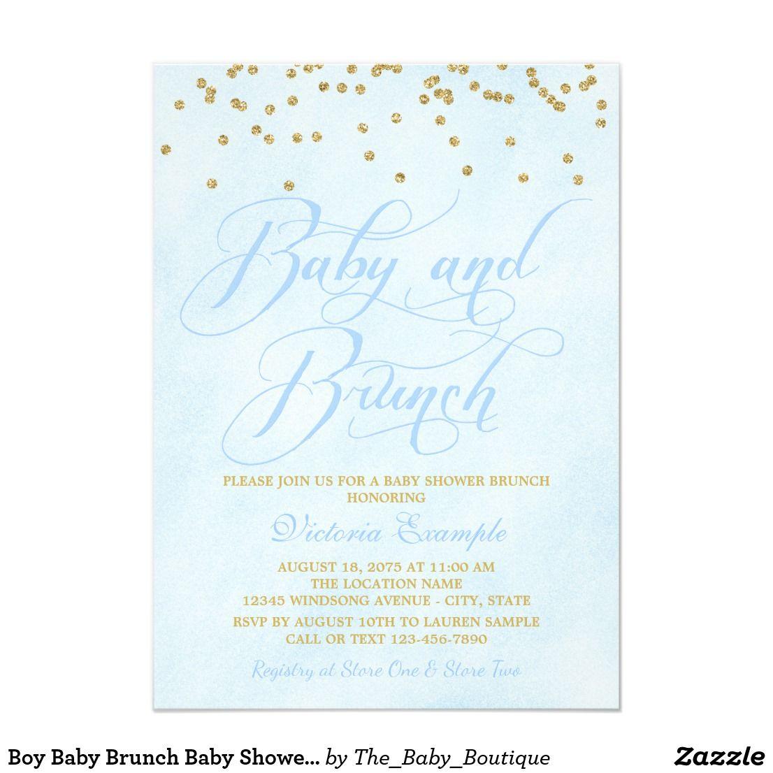 Boy Baby Brunch Baby Shower Invitations | Baby shower brunch, Brunch ...