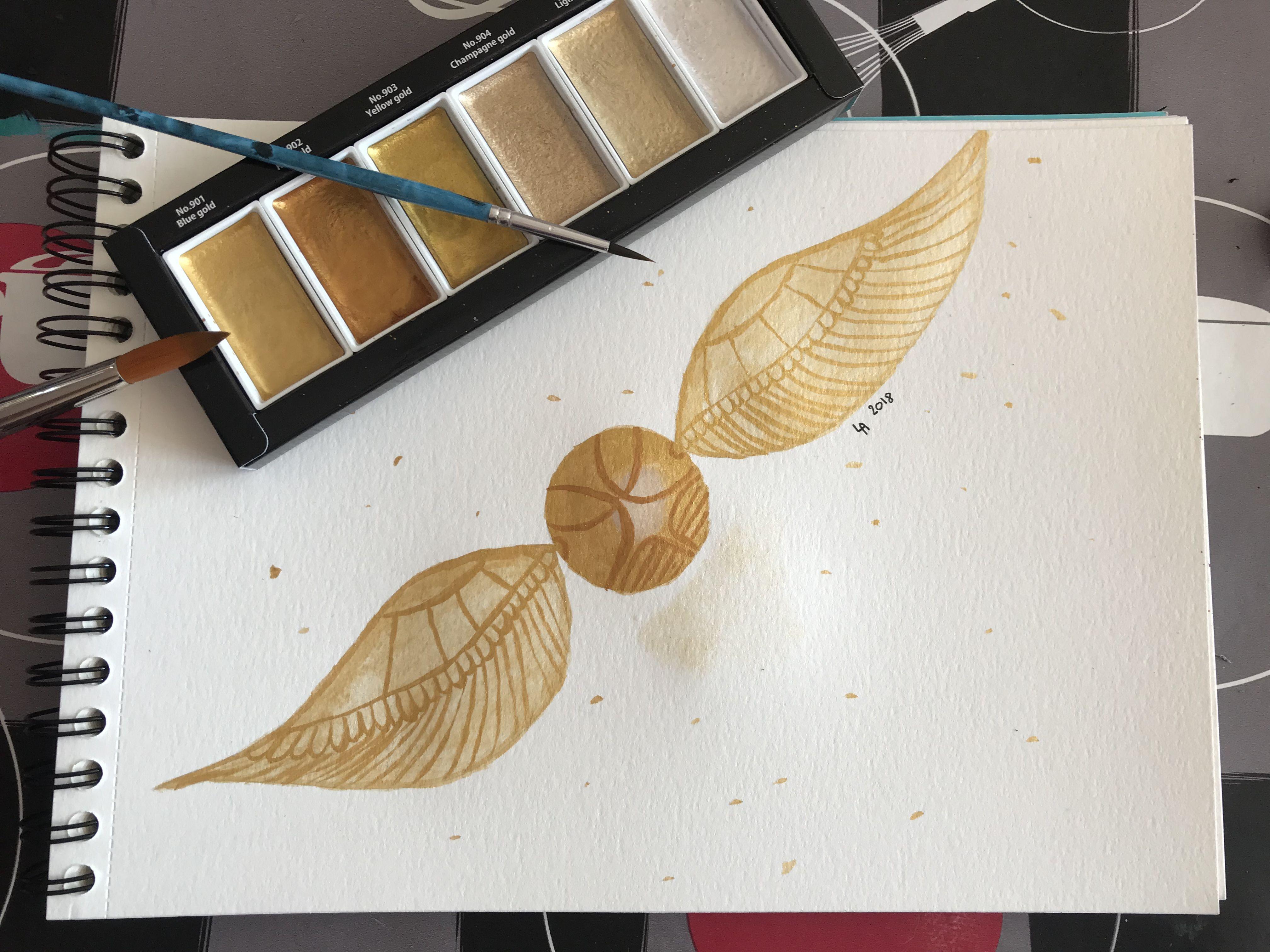 Le Vif D Or Harrypotter Doree Aquarelle Painting Peinture