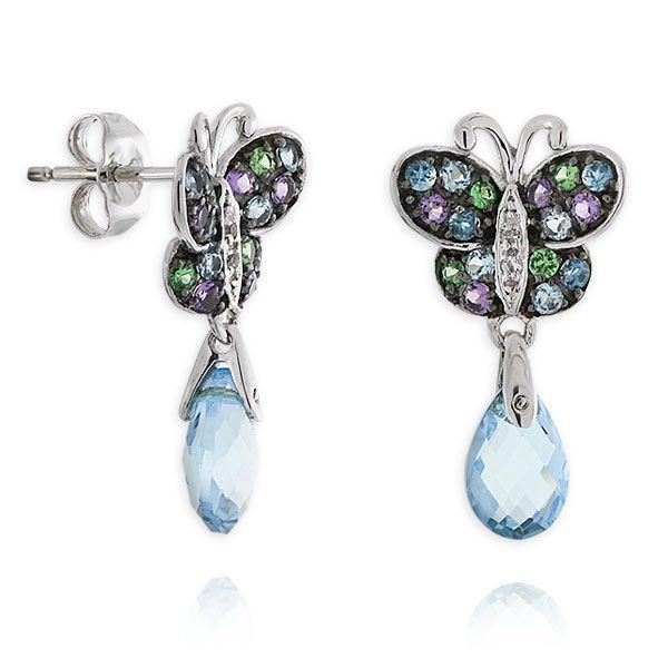 Gemstone Butterfly Earrings 14K :: Ben Bridge Jeweler