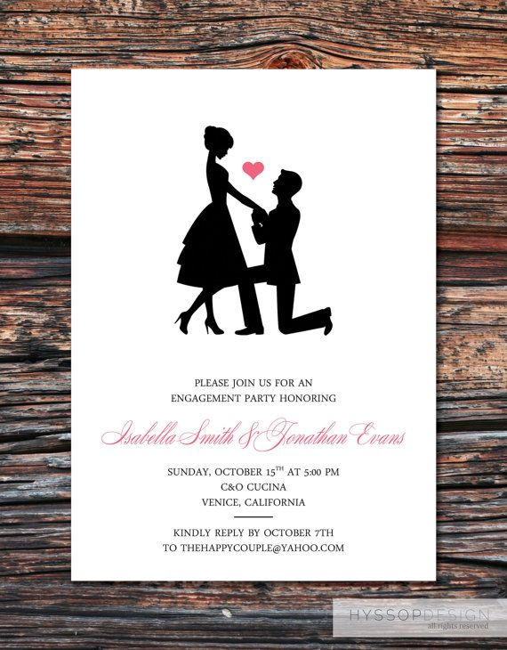 Printable/DIY   Sweet Silhouette Proposal Engagement Party Invitations  Free Engagement Party Invites