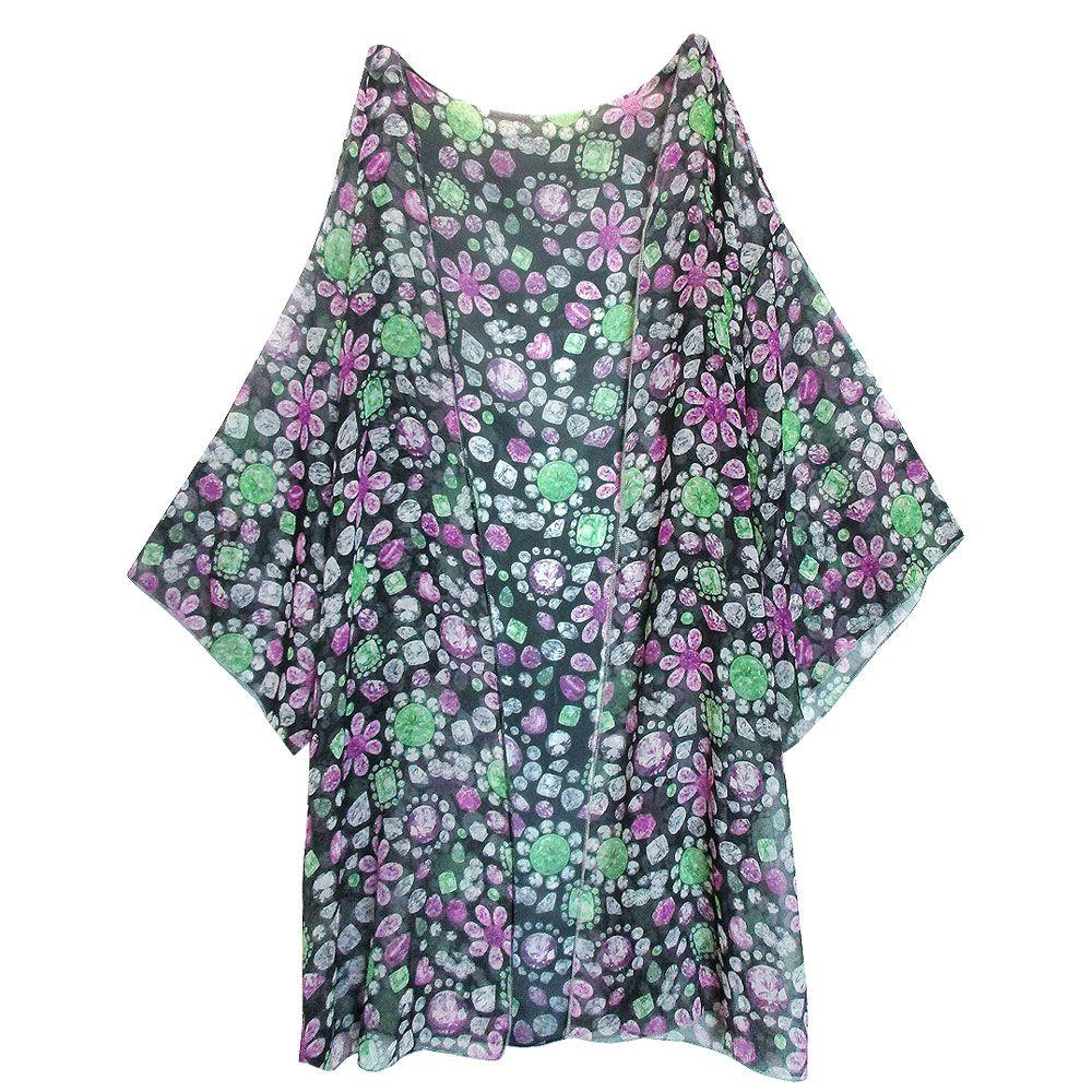 Designer's Jewel Petals Pattern Kimono Style Vintage Women Summer ...