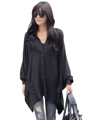 Over Size Solid Asymmetrical Black Shirt & Tops - at Jollychic