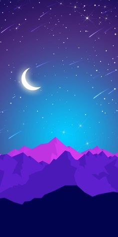 Night Mountains Moon Shining Stars IPhone Wallpaper - IPhone Wallpapers