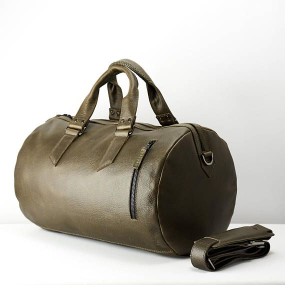 9fae9ba83e Green Leather Duffle Bag 25 Liters