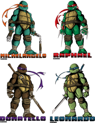 Teenage Mutant Ninja Turtles Leonardo Raphael Michelangelo Donatello Embr Patch