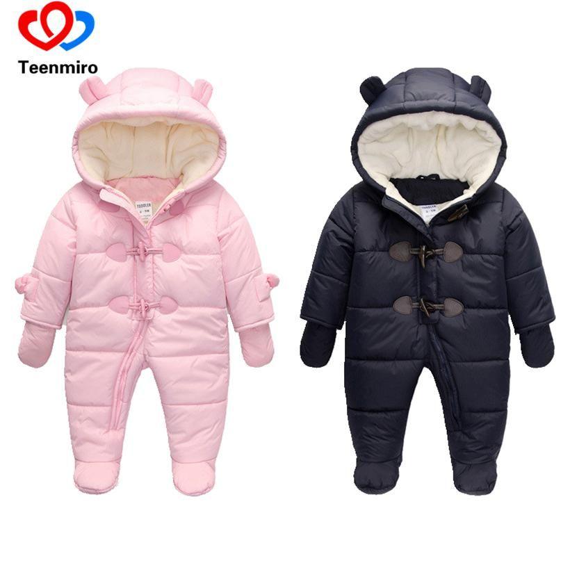 Baby Boy Girl Snowsuit Fleece Cartoon Winter Warm Zipper Jumpsuit