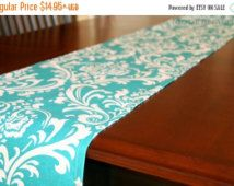 SALE Damask Table Runner- Premier Prints Turquoise Ozborne Dining Room Decor- Wedding Reception- Bridal Shower Events Holiday- Table Linens