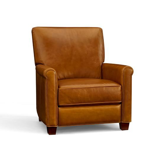 Irving Roll Arm Leather Recliner Leather Recliner