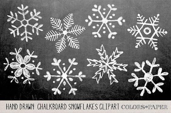 Tafel Hand gezeichnet Schneeflocken Clipart von ColorsonPaper auf Etsy: