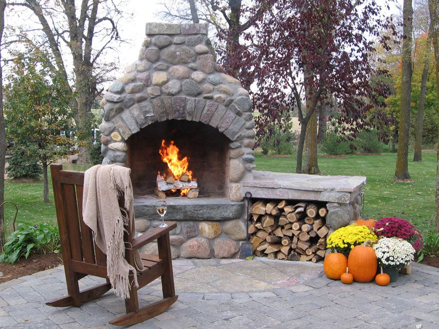 Backyard Entertainment With Fire Pit | Outdoor Fireplaces, Fire Pits U0026  Kitchens | Green Meadows  Outdoor Fireplace And Pizza Oven