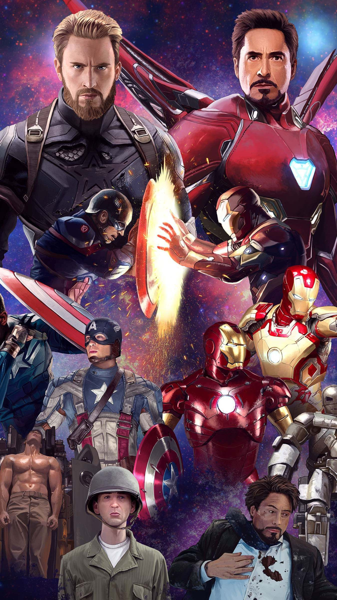Captain America And Iron Man History Wallpaper Marvel