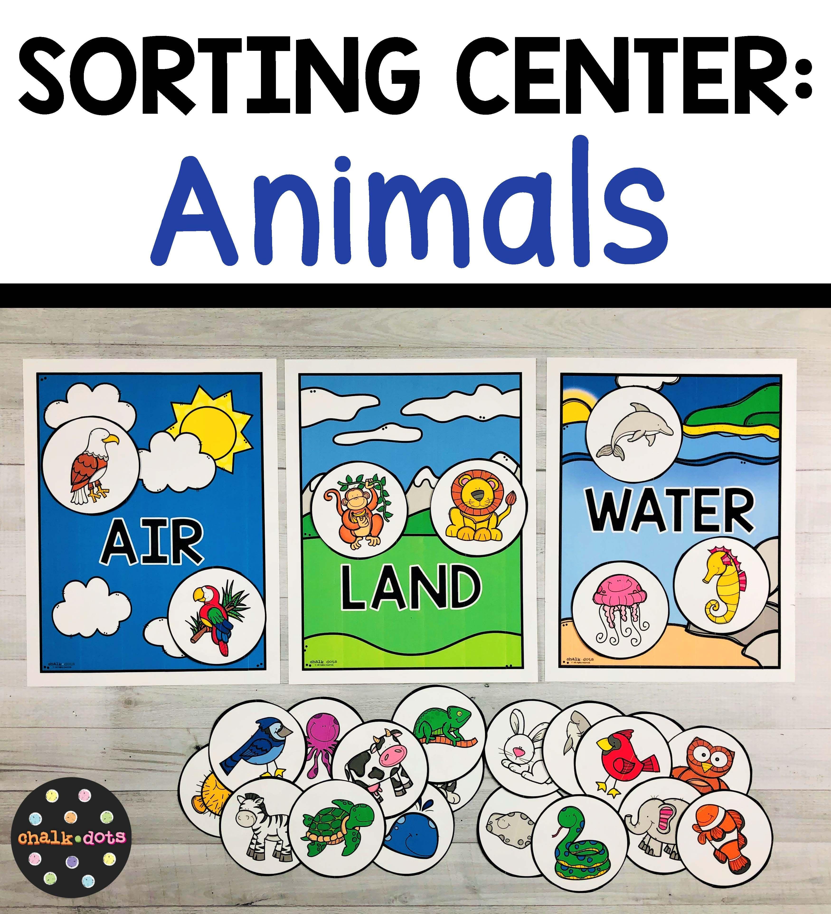 Animal Sort Air, Land, Water Circle time activities