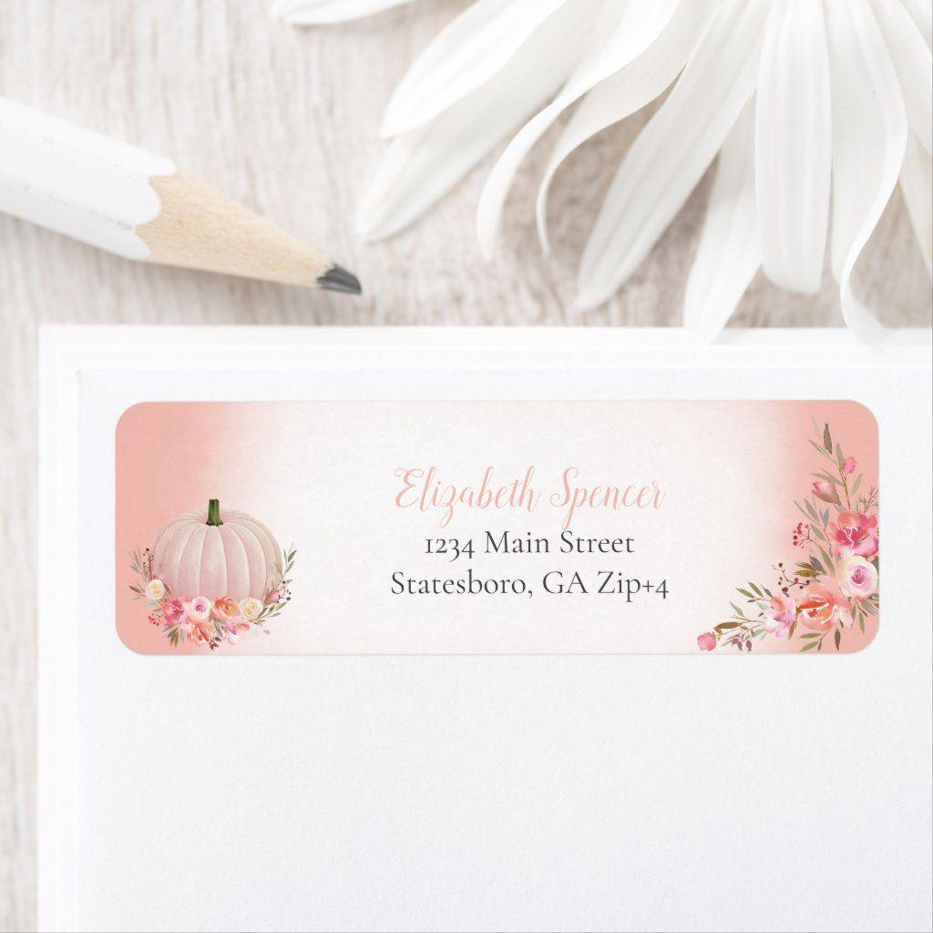 Elegant Pumpkin Floral Return Address 5 sheets