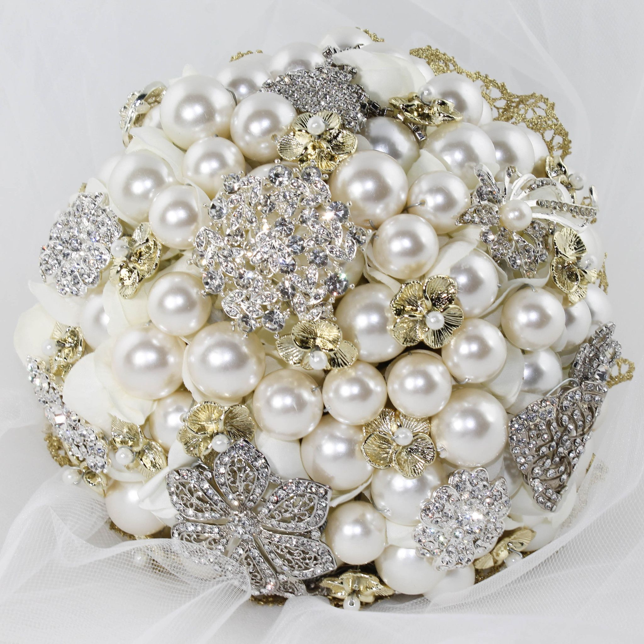 This Bridal Brooch Bouquet Is Handcrafted With Beautiful Golden And