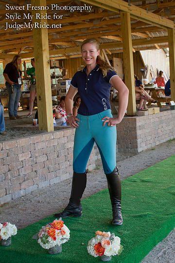 Style My Ride - Chattahoochee Hills Fashion Show Meg Hammock in HKM blues. Contrasting blues from HKM brighten up Meg's riding ensemble. #ilovestylemyride #stylemyride @Style My Ride, Equestrian www.stylemyride.net
