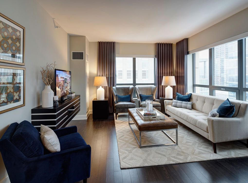 Model Living Room At AMLI River North, A Luxury Apartment Community In  Chicago.