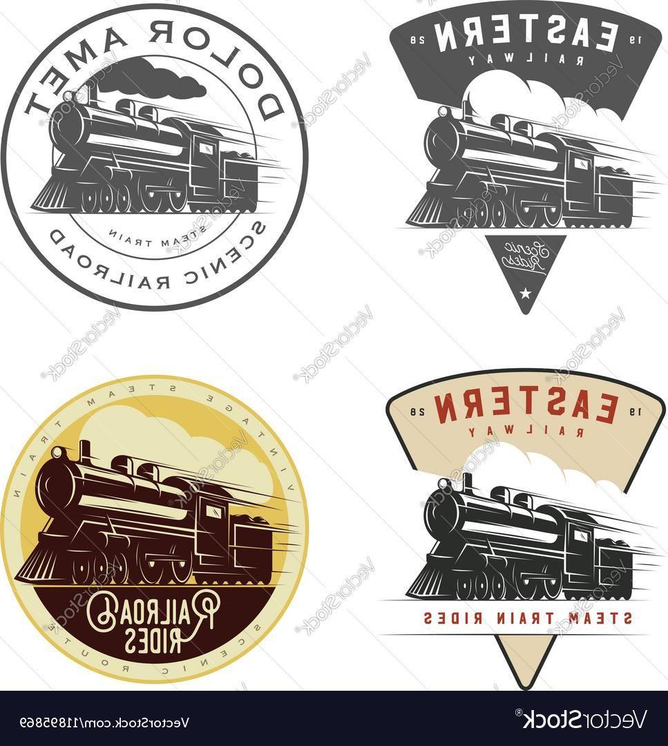 Best Railroad Logos Vector Cdr Set Of Vintage Retro Railroad Steam Train Logos Emblems Vector Retro Train Logo Vector Logo Train Business Logo Inspiration