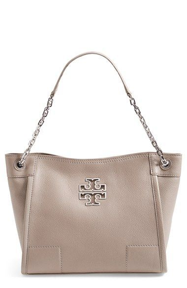 Tory Burch 'Small Britten' Leather Slouchy Tote | French grey and ...