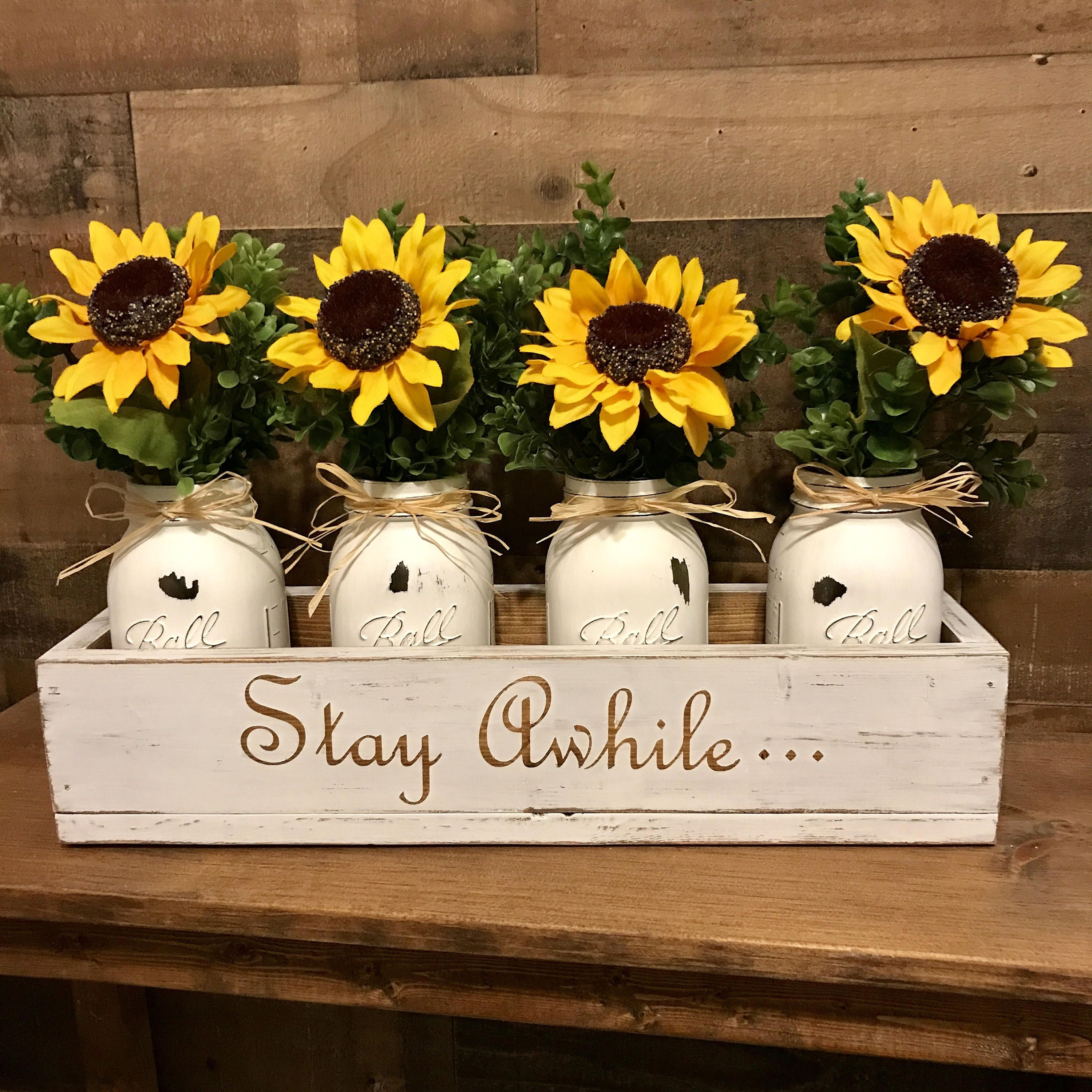 Mason jar sunflower centerpiece mason jar centerpiece wood box