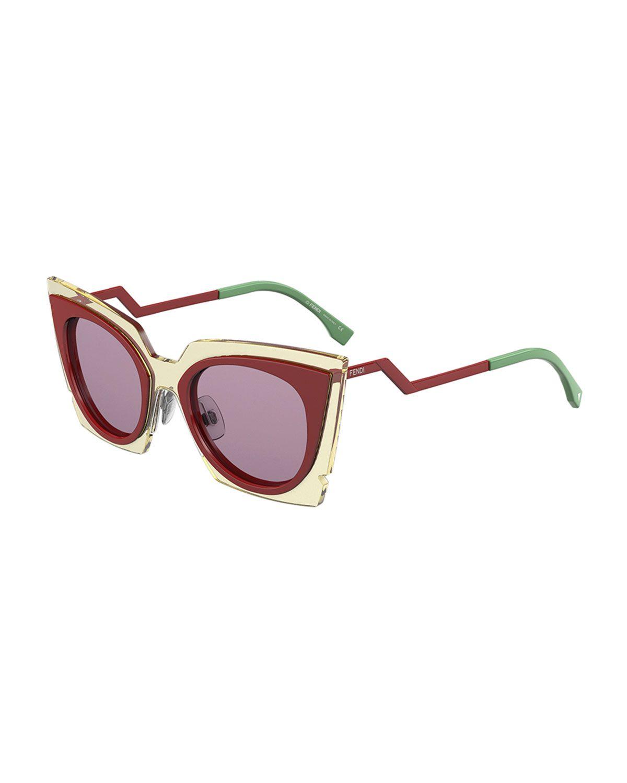 be1f700185053 Fendi Runway cat-eye sunglasses. Translucent acetate frames. Silicone nose  pads…