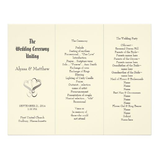 Blush Tri Fold Two Hearts Wedding Program Template Zazzle Com Wedding Programs Printable Wedding Programs Wedding Programs Template