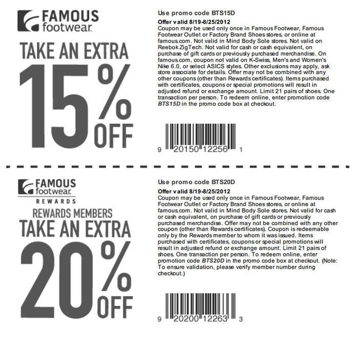 Find Famous Footwear coupons for 2017 here! Use your Famous Footwear coupon  or promo code today and save over on shoes, boots and more.