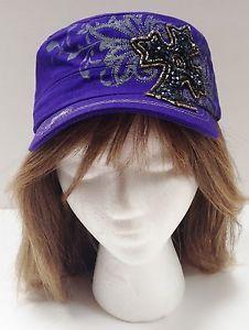 661c8364ec3 Purple Fashion Hat Women Cadet Cap Vintage Style BLING Rhinestone Cross  Design