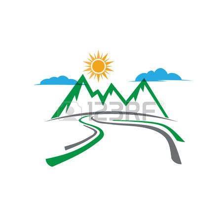 Mountain country road logo. Vector graphic design