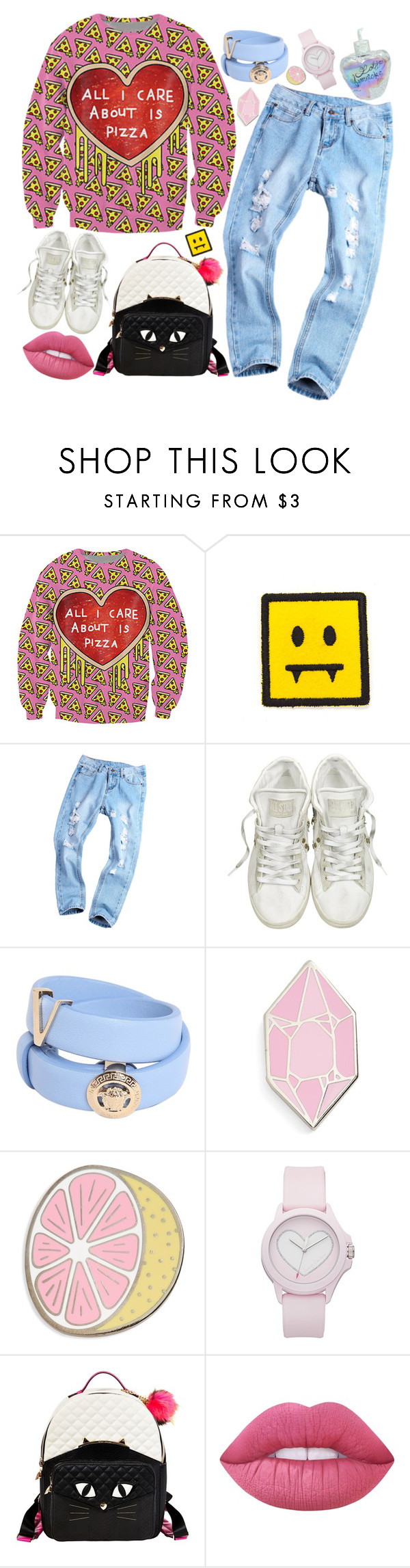 """All I care about is pizza"" by kat-von-g on Polyvore featuring Converse, Versace, Big Bud Press, Juicy Couture, Betsey Johnson, Lime Crime and Lolita Lempicka"