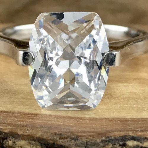 3 CTW Genuine White Sapphire 14K White Gold Filled Engagement Ring. #MyVintageSpirit #Solitaire