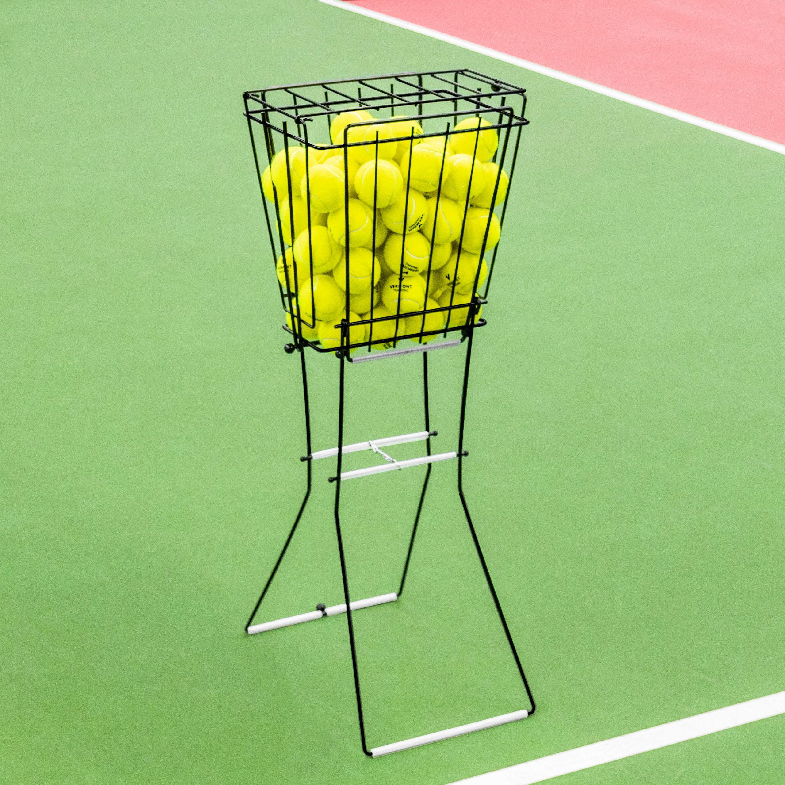 Professional Tennis Ball Basket Hopper Created Using Premium Powder Coated Steel Reversible Stand Simply Convert Tennis Ball Tennis Ball Crafts Tennis Balls