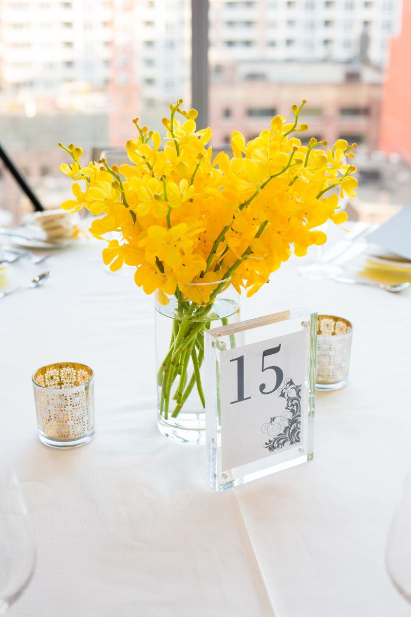 Gray and Yellow Canada Wedding | Wedding centerpieces, Centerpieces ...
