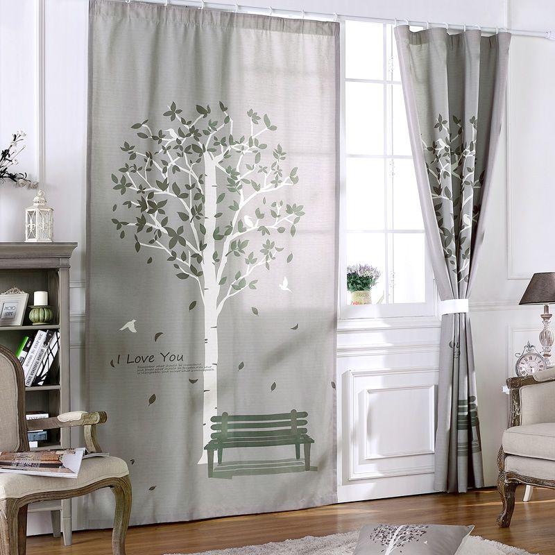 Linen cotton 3d blackout window curtain for bedroom happy tree grey