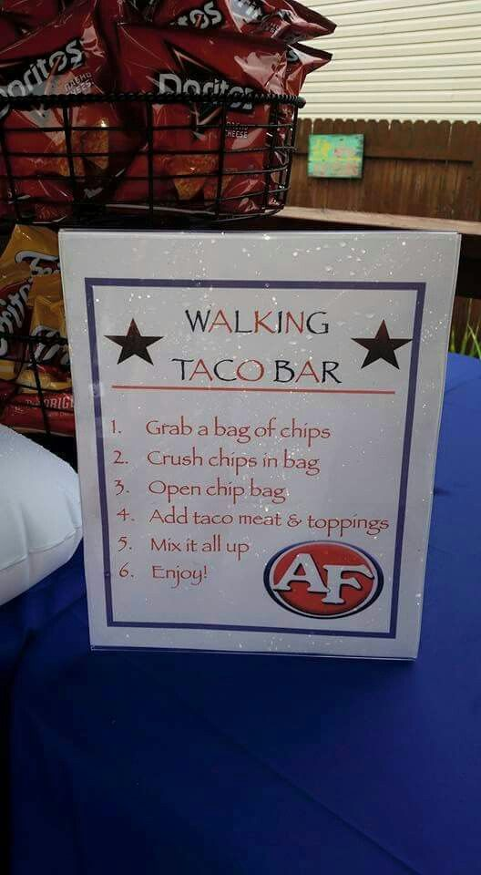 Walking taco bar for graduation party was a big hit with for Food bar ideas for a party