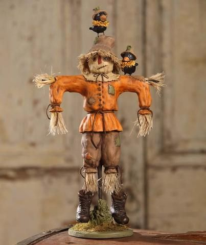 Scarecrow Tablepiece Figurine with Crows All Things Fall - lowes halloween