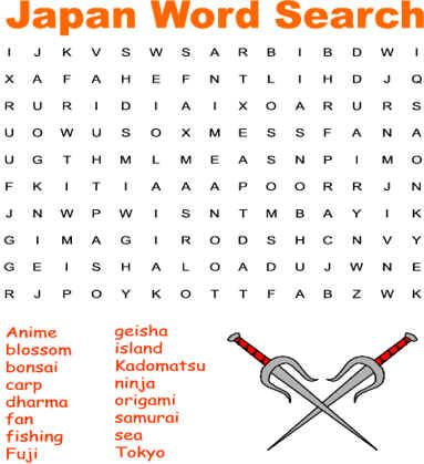 Japan Themed Word Search Kids Word Search Word Search