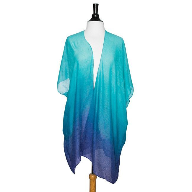 Blue Claudia Sheer Ombre Shawl Cover Up