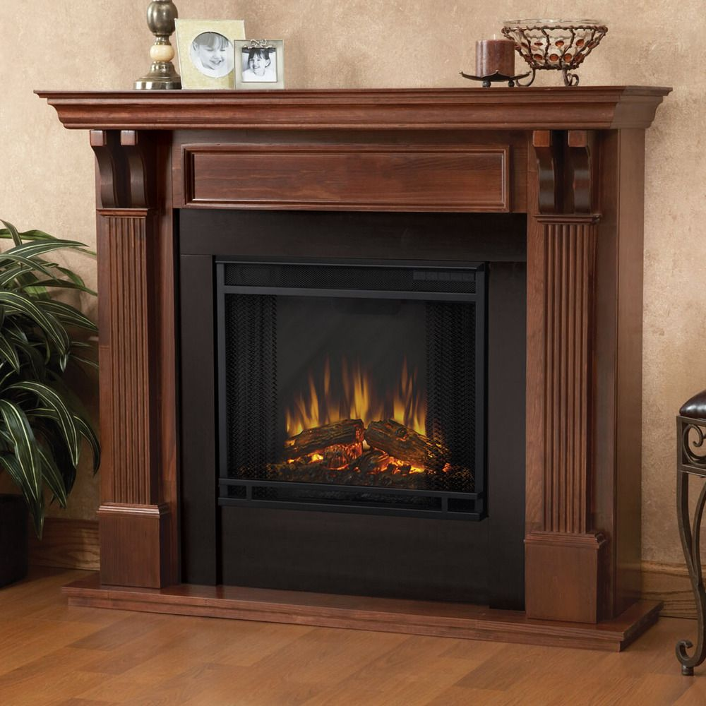 Real flame mahogany finish electric fireplace overstock for