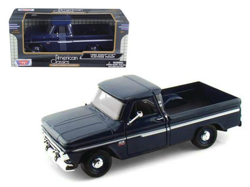 fd9d38baf5c61 1966 Chevrolet C10 Fleetside Pickup Truck Dark Blue 1 24 Diecast Car Model  by Motormax