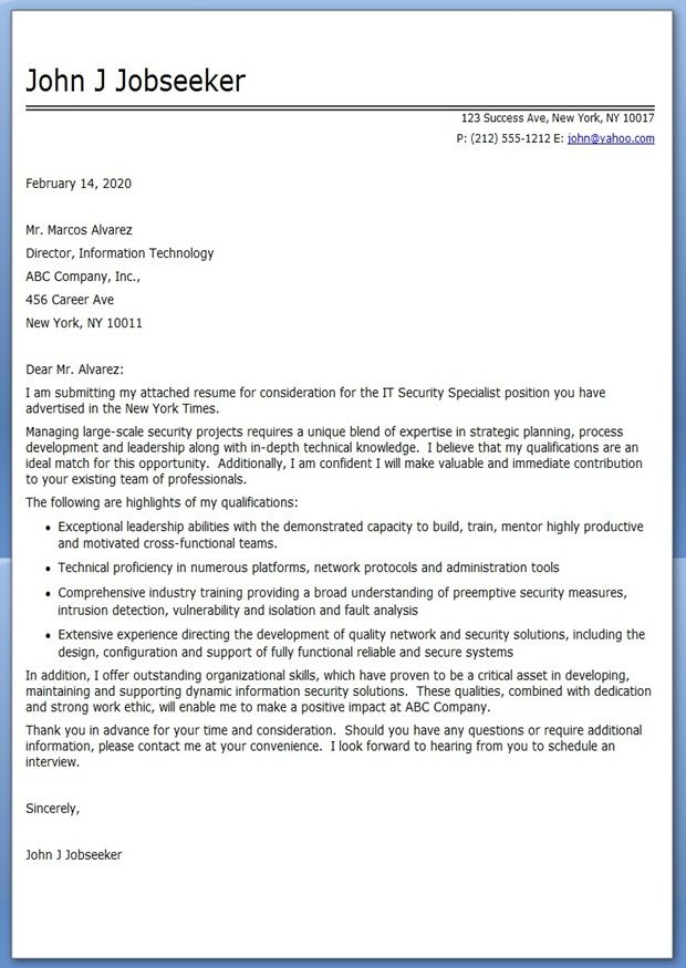 Sample Cover Letter IT Professional Creative Resume Design - Security Cover Letter Examples