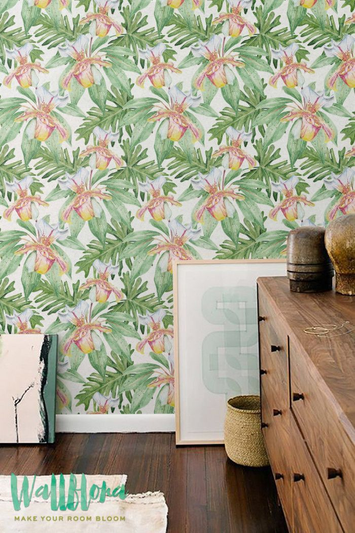 Pin On Tropical Leaves Removable Wallpapers